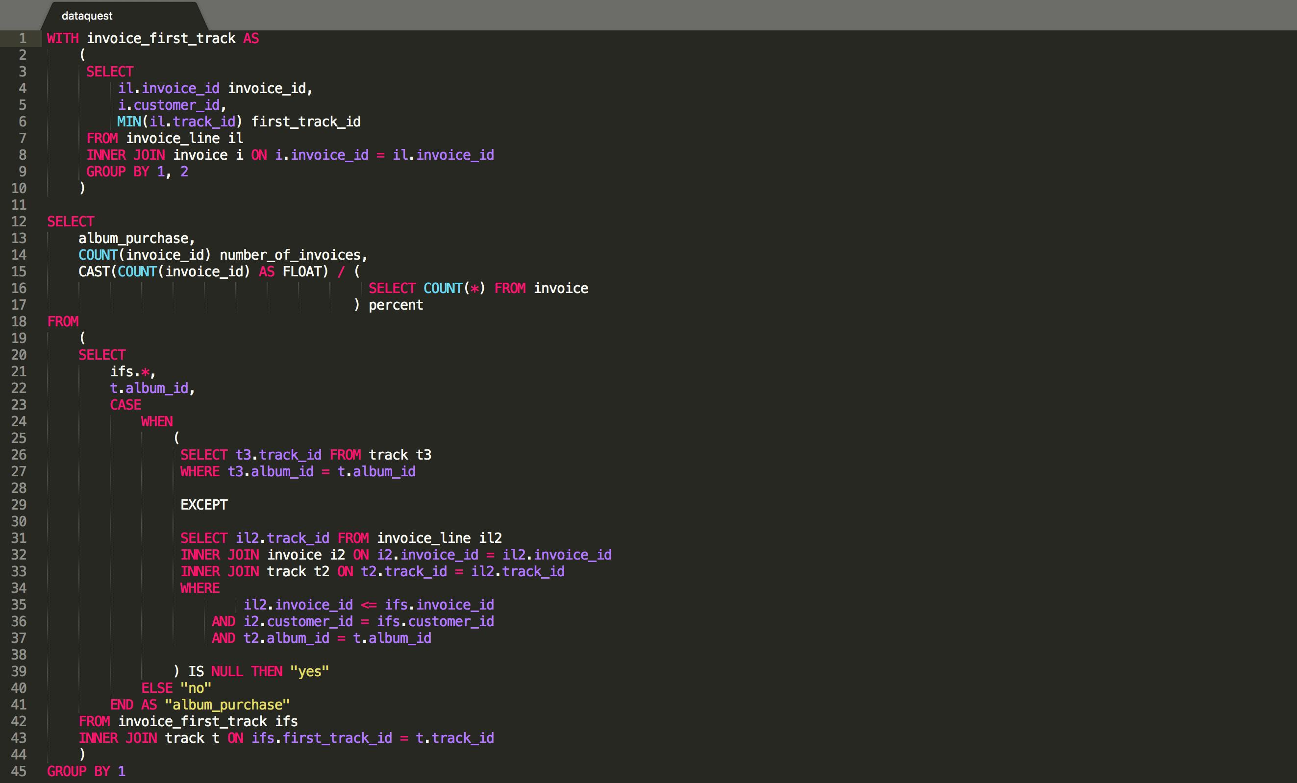 a complex SQL query