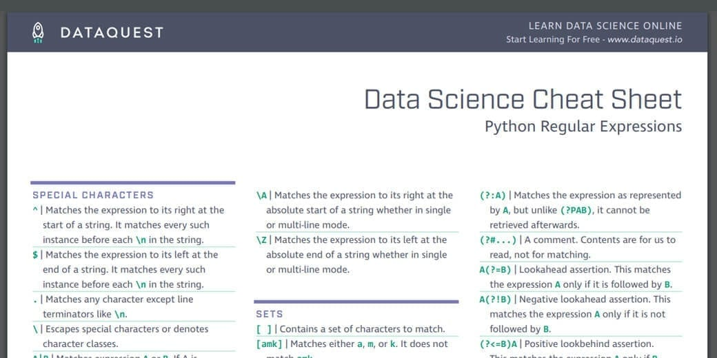 Python Regex Cheat Sheet: Regular Expressions in Python