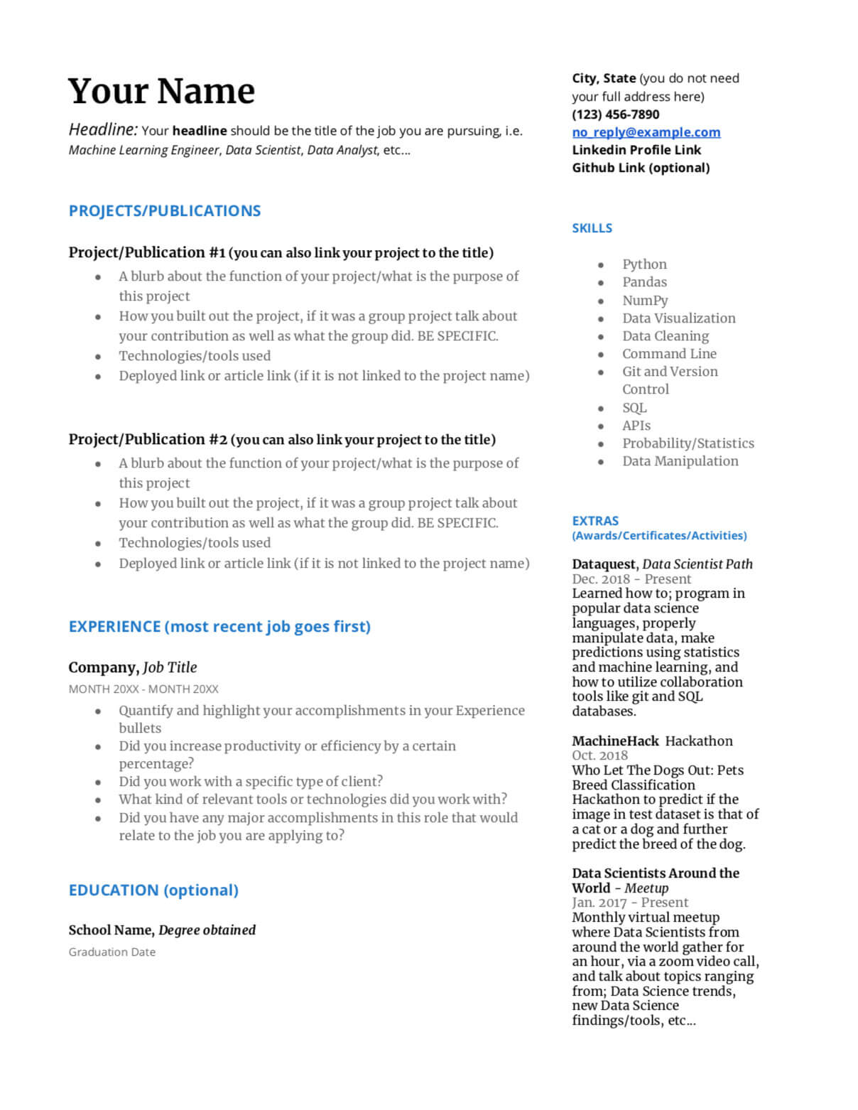 how to write a great data science resume  u2013 dataquest
