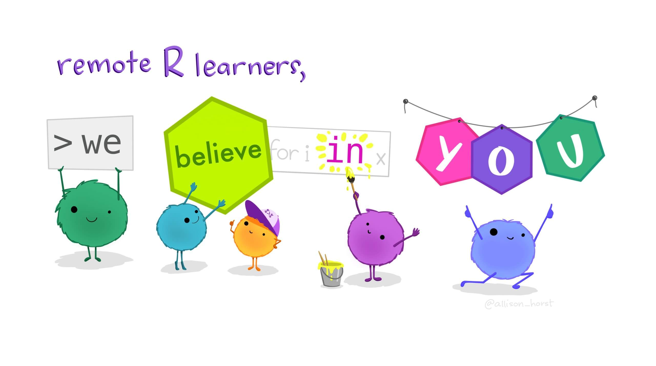 teaching R programming with art