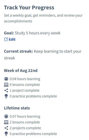 Track Your Learning Progress